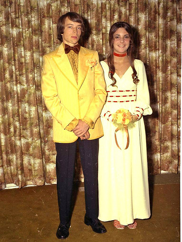 Couple going to prom in the 70s