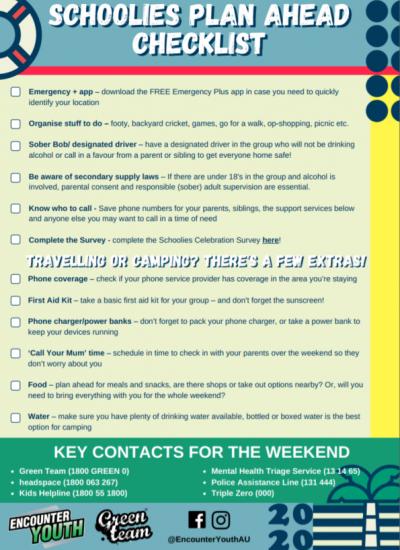 Schoolies Plan Ahead Checklist